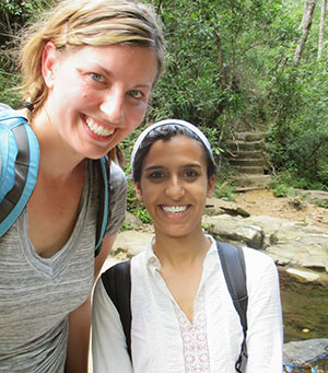Shruti and Meagan at a waterfall in Vietnam